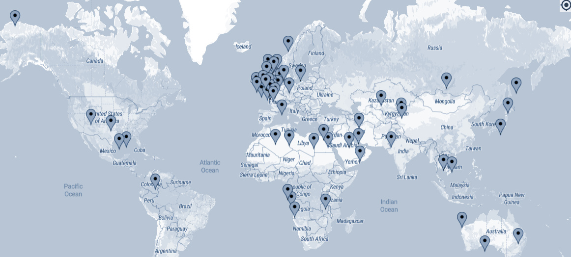 Map showing Pore Scale Solutions Global Experience